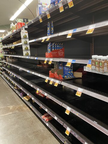 Empty pasta shelves in a Seattle grocery store