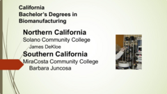 Biomanufacturing Four year Degrees